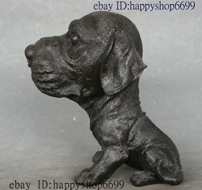 "9"" Collect Rare China Folk Bronze Feng Shui Animal Big Head Dog Statue Sculpture"