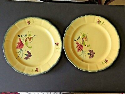 "Large Pair of Chargers or Plates French Pexonne Pottery Yellow 13"" Decorated"