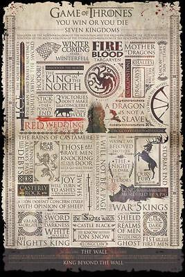 NEW game thrones infographic pyramid maxi wall poster 61cm X 91cm PP33780 - 96D