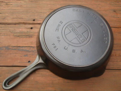 """fully Restored!"" Griswold #7 Lg Block / E.p.u. Logo Cast Iron Heat Ring Skillet"