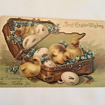 Antique Vintage Early 1900's Embossed Postcard Easter Baby Chicks