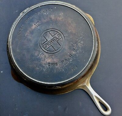 Vintage Griswold #12 Large Block Logo, Heat Ring, Cast Iron Skillet 719 Erie Pa