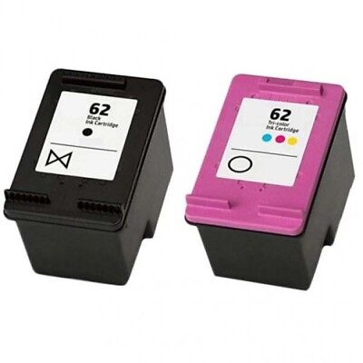 Remanufactured Twin Pack HP 62 Black And HP62 Colour Ink Cartridges