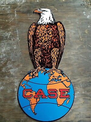 Case Thick Metal Sign Vintage Porcelain Style  Eagle Abe Farm Tractor Barn Art