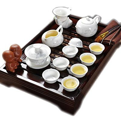Authentic Chinese Kung Fu Master Tea Cup Ceramic Service Set With Wooden Tray