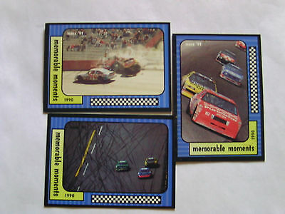 3 Nascar Trading Cards Memorable Moments  1990