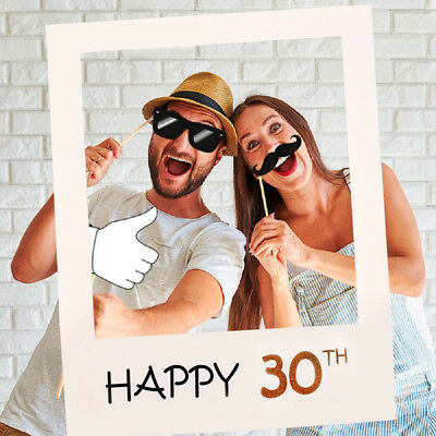 30th 40th 50th Happy Birthday Party Paper Frame Anniversary Photo Booth Props