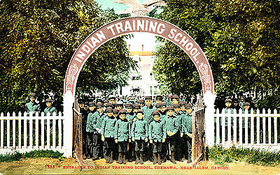 """OR Oregon Salem: """"Indian Training School"""" EH Mitchell Divided-back Post Card"""