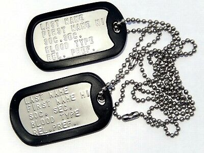 2 Personalized Military Dog Tags Set, ID Tags, Chains, Silencers, Embossed, G.I.