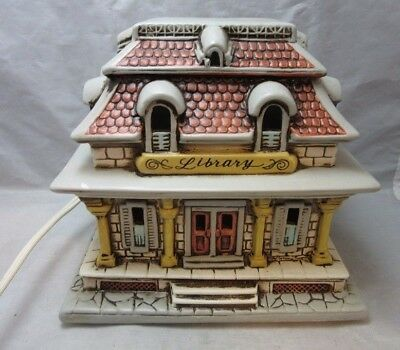 1988 Byron Wood Lefton Lighted Xmas Village Library 06782