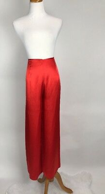 Vintage Valentine Red SILK Trousers Flowy Wide Leg Palazzo Pants High Waist L