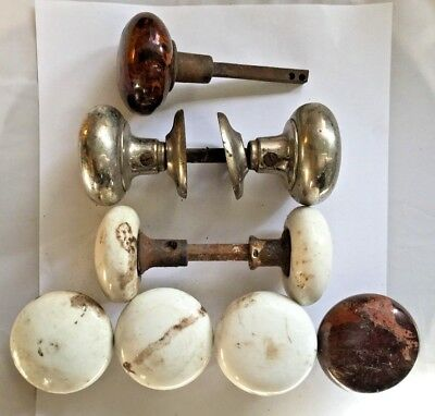 Lot of 9 Vintage Door Knobs 2 Sets 5 Extra Mismatched Knob Ornate White Marbled
