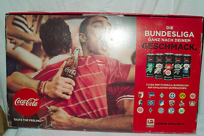 Coca-Cola Zero 18-teiliges Dosenset Bundesliga 2016/2017 Display ca. 56x34cm