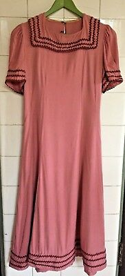 Vintage 1930s Rose Pink Cotton Brown Rickrack Puff Sleeve Dress