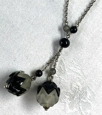 Vintage - Art Deco - Silver Tone Necklace W/ Black & Frosted Glass Bead Dangles