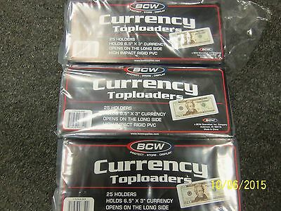 BCW RIGID Top Load Small Size Notes Currency Holders 75ct