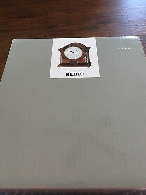 Seiko Mantel Chime Clock Brown Wooden Case Westminster Whittington QXJ012BLH
