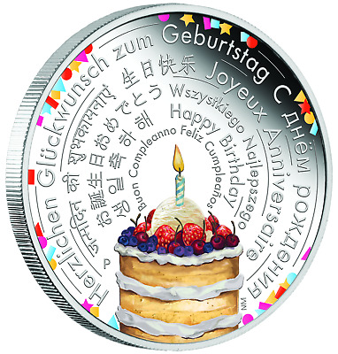 2018 Perth Mint Birthday Wishes 2 OZ $2 two dollar SILVER PROOF COIN ideal gift