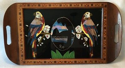 c.1950s Handcrafted RIO de JANEIRO Tray w/ Reverse Painted Glass MACAW Inlay