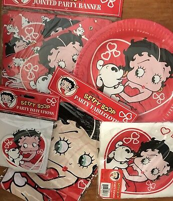 BETTY BOOP Valentines Day Party In A Bag Betty Boop Invitations Plates Etc