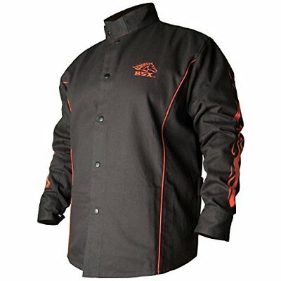 BSX Flame-Resistant Welding Jacket - Black with Red Flames Size Large