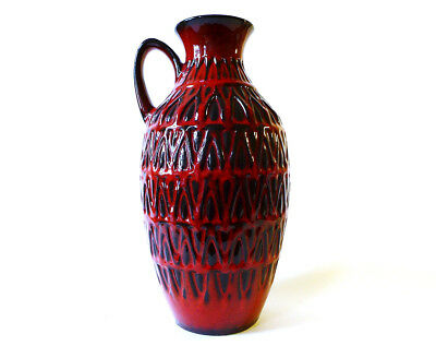 Bay Keramik Relief Vase 232-25 rot red 70s fat lava wgp Roth Otto Ära, mint