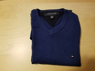 Tommy Hilfiger Mens Pull Over Solid V-Neck Sweater Small Size Dark Blue Color