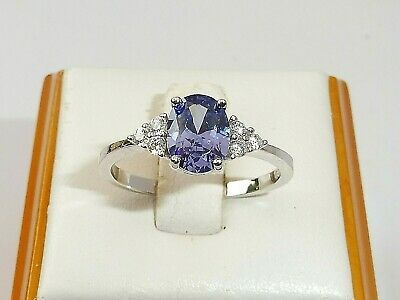Hand Made Ladies 925 Sterling Silver Oval Cut Tanzanite and White Sapphire Ring