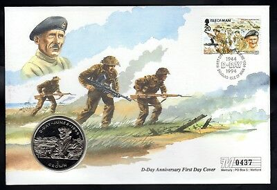 D-Day Anniversary - Isle Of Man Commemorative First Day Cover & Crown - 6/6/1994