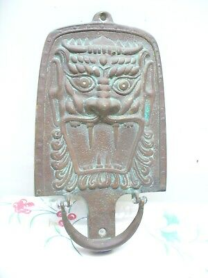 Antique / Vintage Old Cast Brass Chinese / Asian Dragon Front Door Knocker