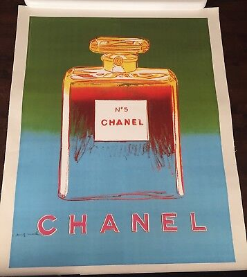 Original Vintage French Poster for Chanel 5 Andy Warhol Green/Light Blue 28x22