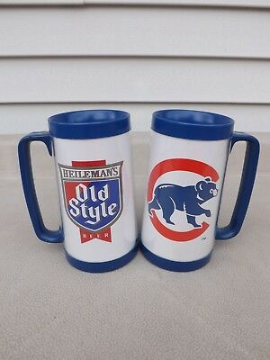 Chicago Cubs / Heileman's Old Style Beer 16oz Plastic Mugs (Set of 2)