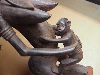"#717 Rare Antique African 22"" Wood Figure Congo Baby Maternity Figure With Base"