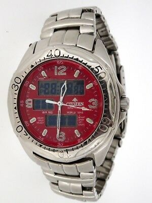 Pre-Owned Citizen Mens Watch Promaster World Time Red Dial Stainless C460-Q01563