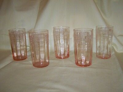 """Set of 5 Cambridge Glass Etched """"Cleo"""" Pattern 4 3/4"""" Pink Flat Tumblers"""