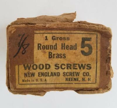 "95 Vintage #5 -- 7/8"" Round Head Brass Slotted Wood Screws NOS Box"