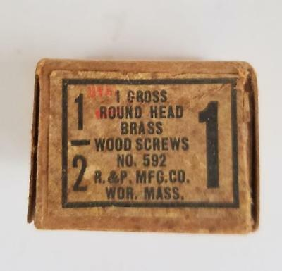 """144 Vintage #1 -- 1/2"""" Oval Head Brass Slotted Wood Screws NOS Box"""