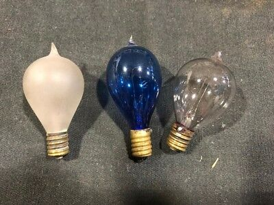 Vintage Three Early 'tipped' light bulbs