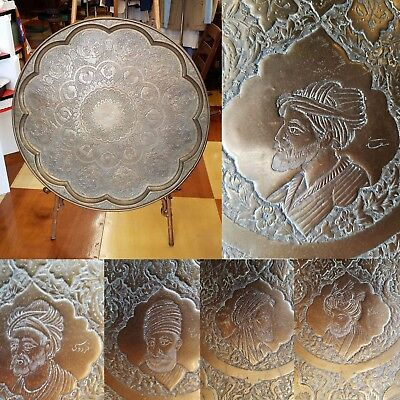 Huge Heavy Antique Brass Turkish Persian Repousse' Tray with 12 Rulers Depicted