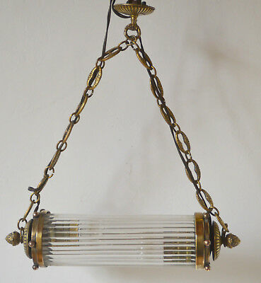 Vintage French brass and glass rod ceiling light, decorative brass chain