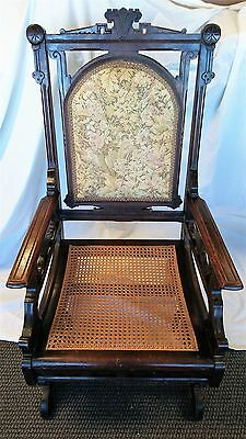Antique Rocking Chair Upholstered Back U0026 Wicker Seat Victorian/Neoclassical