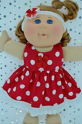 "Play n Wear Doll Clothes For 14""Cabbage Patch RED POLKA DOT DRESS~HEADBAND"