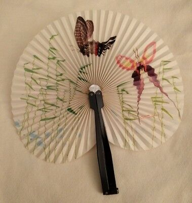 VINTAGE FOLD UP HAND FAN PEOPLE'S REPUBLIC OF CHINA Butterflies Metal Paper