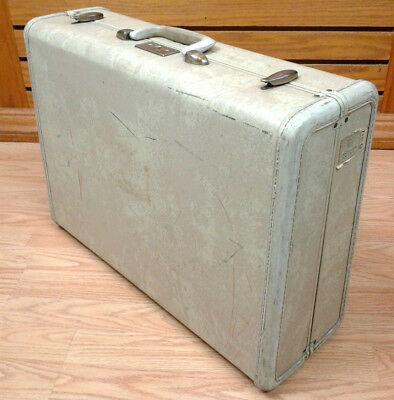 Samsonite Vintage Suitcase Streamlite Mid-Century White Marble Luggage Antique