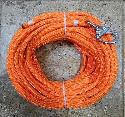 """3//8/"""" x 85 ft Dacron//Polyester Halyard Spliced in S//S Snap Shackle blk//wh"""