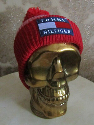 Tommy Hilfiger Bobble ® Beanie Hat Winter Cap Double Knit Flag Turn Up Ribbed
