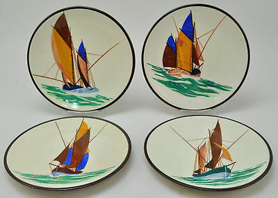 Set of 4 Hand Painted Flahault Henriot Quimper Sailboat Plates France
