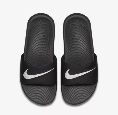 cd97208752b314 NIKE KAWA BLACK WHITE Youth Slide Sandals (819352 001) - Size 7Y ...