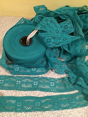 """Decorative 2 1/2"""" Turquoise Blue Lace Trim by Yard- Sewing Costume Embellishment"""