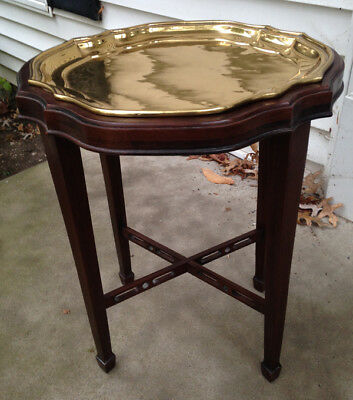 Ethan Allen Georgian Court Cherry Accent Table with Solid Brass Tray